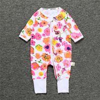 baby-overall-overalls großhandel-rosa rot Neugeborenen Boy Girl Overall Frühling Herbst Baumwolle Floral Jumpsuit Baby Langarm Zipper Kinder Kleidung Baby Strampler