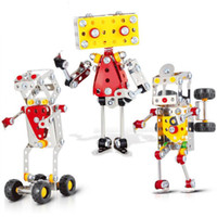 Wholesale Toy Metal Robot - 3D Assembly Metal Engineering Vehicles Model Kits Toy Transform Truck Man Robot Q Aberdeen Building Construction Play Set