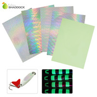 Wholesale saltwater flashing lures resale online - Mixed Color Holographic Adhesive Film Flash Tape For Lure Making Tying Materail Metal Hard Baits Luminous Sticker