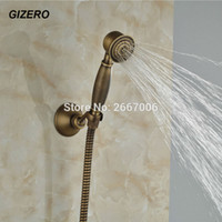 ingrosso classica doccia a mano-GIZERO Liberi la nave Classic Antique Bronze Bronze Style Telephone Copper Shower Shower Head + Shower Holder + 1,5m Tubo flessibile per doccia GI1318