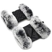 vrais gants de fourrure de lapin achat en gros de-JKP 2018 Nouvelle femme réel lapin fourrure en peau de mouton demi doigt gants femme hiver chaud en peau de mouton véritable gants de mode ST18-08