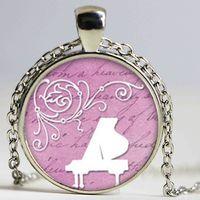 Wholesale piano pendant resale online - New Fashion Piano Keyboard Pendant Piano Neckalce Glass Necklaces Pendants Music