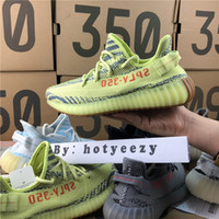 Wholesale B Keychain - 2018 Boost 350 V2 Zebra Cp9654 Orange Grey Beluga 2.0 AH2203 Dark Green DA9572 Kanye West Running Shoes With Box+Receipt+Keychain