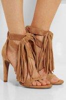 sandalias marrones peep toe al por mayor-Envío gratis 2018 nueva moda americana de gran tamaño borla peep-toe de tacón alto sexy marrón mujeres sandalias personalizadas Office Lady Party shoes