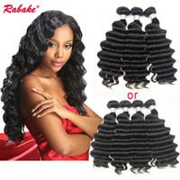 Wholesale bundles remi hair resale online - Loose Deep Wave Human Hair Weave Bundles Rabake Peruvian Nigeria Loose Deep Curly Remi Wet and Wavy Human Hair Extensions Free DHL