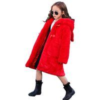 красные шубы для девочек оптовых-Искусственного меха Пальто зимы детей Толстый Длинные куртки для девочек 9 10 11 12 Years моды Подростковая Верхняя одежда с ушками Red