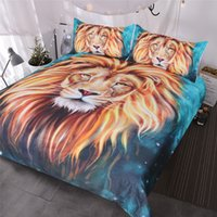 Wholesale oil painting style duvet cover for sale - Group buy Gold Lion Bedding Set Artistic Lion Face Duvet Cover D Oil Painting Piece Wild Animal Teal Blue Bed Covers King