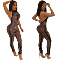 Wholesale sexy women overalls - 2018 Rompers Sexy Women Jumpsuit Sleeveless Halter Backless Sequin Jumpsuit Rhinestone Bodysuit Overalls for Party S-XL
