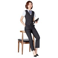 ingrosso le camicette delle signore-Pantaloni donna Tute da lavoro formale uniformi con pantaloni + gilet + camicetta 3 pezzi Office Lady Uniform Business Formal Office Clothes