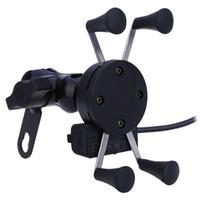 steckdose ladegerät großhandel-X Art Motorrad Stand Telefon Halter 12V USB Ladegerät Steckdose für iPhone 6/6 Plus GPS Samsung HTC Sony Smart