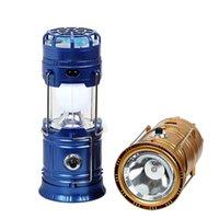 mini linterna solar luces al por mayor-Luz de linterna LED recargable solar con mini ventilador Banco de energía solar USB Linternas portátiles para luces de carpa de camping al aire libre Lámpara de emergencia