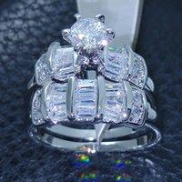 conjuntos de joyas de piedra blanca al por mayor-Joyería de moda Vintage Cz 5A Zircon piedra 10KT Oro blanco Lleno Anillo de bodas Set Sz 5-10 Regalo Envío gratis