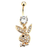Wholesale bunny tin - Bunny Gold Plated Dangle Belly Button Navel Rings Body Piercing Jewelry Gem