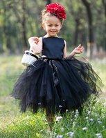 vestido de princesa de longitud de té negro al por mayor-2019 barato negro vestido de bola de la longitud del té del florista de vestidos para la boda de la princesa volantes de tul niñas desfile de los vestidos de los niños del vestido de la comunión