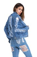 chaquetas femeninas envío gratis al por mayor-Envío gratis moda mujer ropa primavera otoño mujeres Denim chaqueta 2018 manga larga 90 s agujero para mujer Jeans abrigo moda Outwear