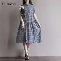 Wholesale linen club clothes - Summer Dress Cotton Linen Loose Dress A Line Plaid Print Turn Down Collar Short Sleeve Women Size M-2XL Women Clothing