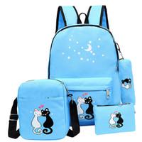 bolsa de la escuela coreana al por mayor-Mochila linda con estampado de gatos para adolescente Bolso escolar Unisex Mochila coreana Bolso de hombro de niña Mochila escolar 4 juegos