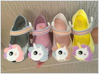 Wholesale Wholesale Crystal Baby Shoes - Melissa jelly shoes 2018 summer new girls unicorn princess Sandals children beach shoes Baby kids crystal fragrance sandals A00162