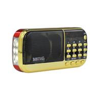 mini mp3 player bateria venda por atacado-B836S Portátil Mini Stereo Digital Speaker Radio Banda de Mundo Completo Receptor de MP3 Player Bateria Recarregável com LED