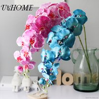 Wholesale Real Touch Flower Arrangement - Wholesale-Artificial silk orchid 12 head fake big flower with plastic stem for home arrangement wedding party supply real touch flore bulk