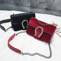 Wholesale leather dragon purse resale online - European and American fashion new women velvet PU leather double dragons style chain flap shoulder bag tote purse