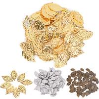 conectores de árvore venda por atacado-50 pcs folhas de cobre folha de pingente de folha de banhado a ouro folha de árvore conectores para fazer jóias