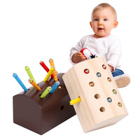 Wholesale wooden fishing game - Fine Motor Skill Magnetic Catch Worm Fish Insect Game Kids Children Montessori Educational Wooden Toys