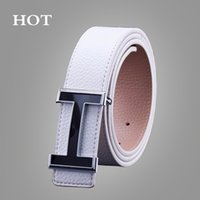 Wholesale leather white wide belt - NEW Belts Smooth Buckle Casual All-Match Designer Top Luxury Belts Men Fashion PU Male Leather Belt For Men