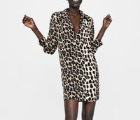 tierdruck kleider zum verkauf großhandel-Frauen europäischen print Tier Leopard PRINT SHIRT KLEID full sleeve Kleid Heißer Verkauf Frauen Kleidung vestidos
