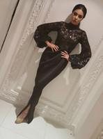 yüksek ruffle yaka toptan satış-Arapça Siyah Aplikler Yüksek Yaka Gelinlik Modelleri Mermaid Vintage Uzun Kollu Seksi Bölünmüş Sheer Fırfır Abiye giyim