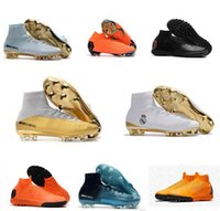 Wholesale Elite Football Boots - Real Madrid Cristiano Ronaldo Soccer Cleats Mercurial Superfly VI 360 CR7 SuperflyX 6 Elite TF Soccer Shoes High Ankle Football Boots