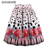 eba97cd54fa Enyuever Plus Size Pleated Skirt 2018 High Waist Polka Dot Floral Print  Pinup Midi Summer Faldas Mujer Women Skirts With Pockets. 37% Off
