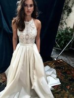 Wholesale halter dress pockets - 2018 Ivory Generous Wedding Dresses Lace Halter Satin Beach Bridal Dresses with Pocket Vestidos Plus Size Cheap Wedding Party Gowns A Line