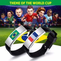 bracelets drapeau national achat en gros de-Drapeau national Charm Bracelet 2018 FIFA Coupe du monde cadeaux bracelet en acier inoxydable laser drapeau FIFA World Cup 2018 Bracelets de football pour voiture