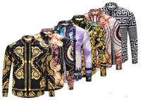 siyah erkekler için iş elbiseleri toptan satış-17-18 yepyeni medusa baskılı lüks erkek elbise gömlek slim fit pamuk gömlek erkekler için siyah baskı rahat iş üstleri sosyal giysiler m-3xl