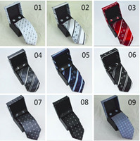 Wholesale tie cufflink boxes - 2018 new arrived Men Silk Ties Fashion Mens Neck Ties luxury l brand letter tie with box Business Leisure for gifts free