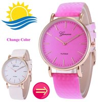 Wholesale New Geneva Watches - fashion women geneva thermochromic Temperature Change Color Watch leather watch simple ladies students casual wrist quartz watches