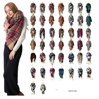 Wholesale wholesale acrylic blankets - Za Winter triangle Scarf 2017 Tartan Cashmere Scarf Women Plaid Blanket Scarf New Designer Acrylic Basic Shawls Women's Scarves and Wraps