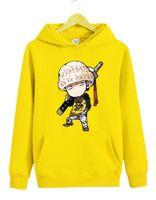 tek parça anime fleece toptan satış-Trafalgar Hukuk hoodies One piece anime ter gömlek D Su karikatür polar giyim Kazak tişörtü Spor ceket Açık ceketler