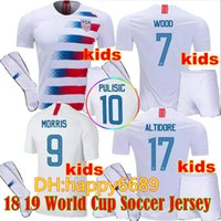 Wholesale kid boy wearing shirt short - Kids kits + Socks 2018 2019 U PULISIC Soccer Jersey Wear S 18 19 DEMPSEY BRADLEY ALTIDORE WOOD America youth Football jerseys child Shirts
