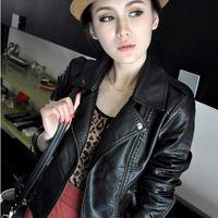 Wholesale short leather jackets for women - 2017 New Fashion Turn Down Collar Women Leather Jackets Slim PU Leather Motor Jacket for Women Casaco Feminino Size 3XL, CB018