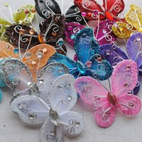 Wholesale garment butterfly - 90pcs 53x45mm Wire Glitter Butterfly Garment Appliques Wedding Decoration Supply Cardmaking SCRAPBOOKING Embellishments