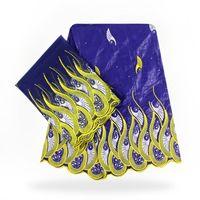 ingrosso abito ricamato blu-FBT1006 blu royal e giallo ricamato tessuto bazin africano del merletto 2018 nuovi 5 yards + 2 yards pizzo francese per fare abito da festa