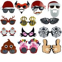 weihnachtsbrille sonnenbrille großhandel-Heißer Verkauf Weihnachtsmaskerade Partei Sonnenbrille Festival Dekoration Lustige Gläser Mode und Persönlichkeit Dekoration Gläser T3I0386