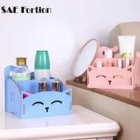 Wholesale Wood Desktop Box Organizer - 4 Colors Wooden Storage Box For Jewelry Organizer For Cosmetics Cute Cat Office Pen Box Container Desktop Storage Assembly DIY