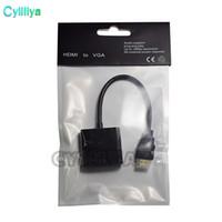 convertidor usb vga al por mayor-1080p HDMI a VGA Convertidor Audio Video Cables DP Display Puerto Macho a VGA Hembra Convertidor Cable Adaptador 100 Unids DHL Con Paquete Opp
