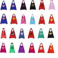 Wholesale wholesale superhero capes for kids - Halloween Satin Cape Felt Mask for Kids 2PCS SET Double Layer Superhero Cape and Mask Set Superhero Costume Kids Party Gifts 70*70CM
