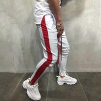cremallera pantalones de harén hombres al por mayor-Hombres de talla grande Pantalones harem Jogger Hip Hop Zipper Fitness Track Pantalones Pantalones de chándal 2018 Bloques de color Pantalones 3XL Ropa deportiva masculina