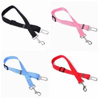 Wholesale solid color nylon dog collars resale online - Classic Solid Color dog leashes Adjustable Nylon Car Vehicle Safety pet seat belt leashes Seatbelt Harness for dogs