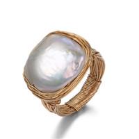 anillos de perlas barrocas al por mayor-Original Hecho a mano cerca de agua dulce anillo de perlas de estilo barroco 14K oro envuelto anillo de perlas de lujo anillos de boda para mujeres